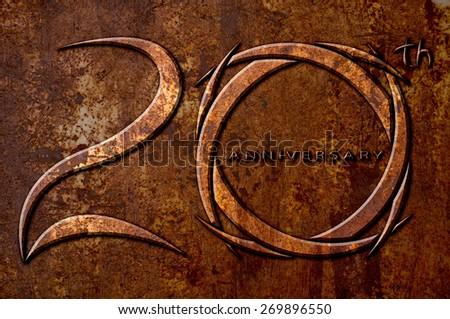 20 years anniversary on metal rust background - stock photo