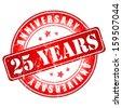 25 years anniversary stamp.  - stock photo