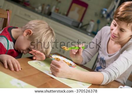 3-4 Years Boy Refusing Food - stock photo
