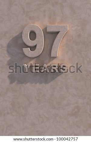 97 years 3d text with shadow and copy space