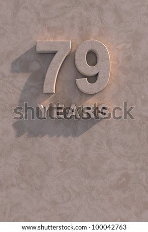 79 years 3d text with shadow and copy space