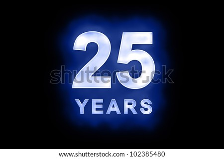 25 Years in glowing white numbers and text with a mottled patterning on blue background suitable for a birthday, celebration or anniversary - stock photo