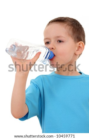 6 years old boy with bottle of water isolated on white