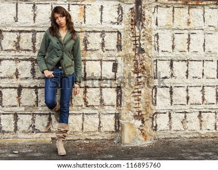 25-years-old girl outdoors - stock photo