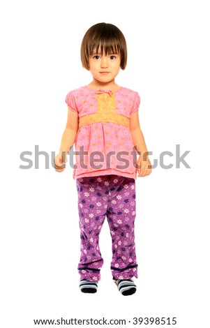 3 Years old mixed asian caucasian girl on pure white background - stock photo