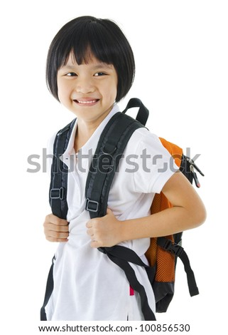 7 years old pan Asian school girl on white background - stock photo