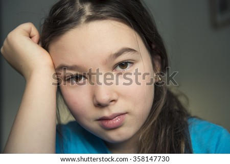 9-10 years old teen girl - stock photo