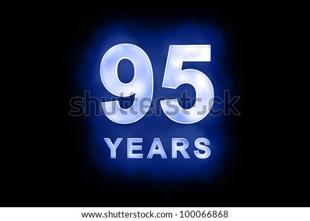 95 years text with blue glow on black background - stock photo
