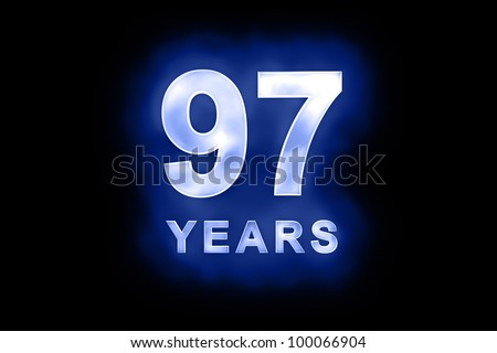 97 years text with blue glow on black background - stock photo