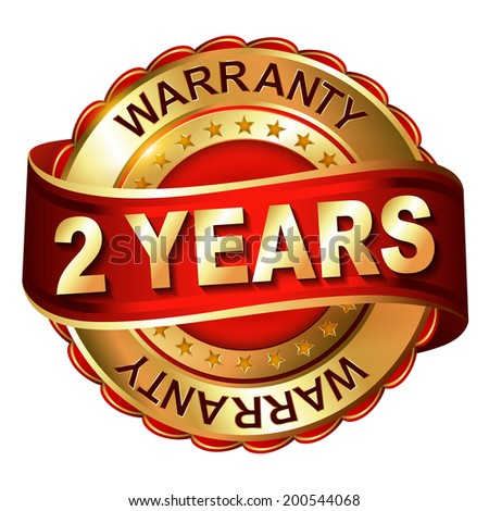 2 years warranty golden label with ribbon. - stock photo