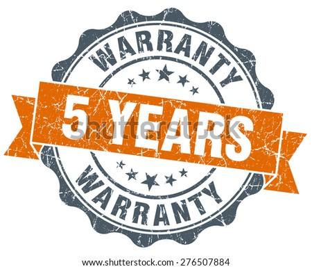 5 years warranty orange vintage seal isolated on white - stock photo
