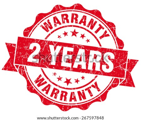 2 years warranty red vintage isolated seal - stock photo