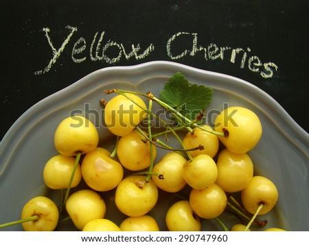 yellow cherries             - stock photo
