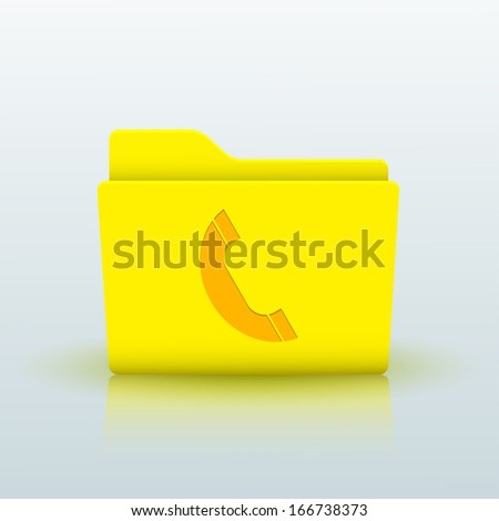 yellow folder on blue background.