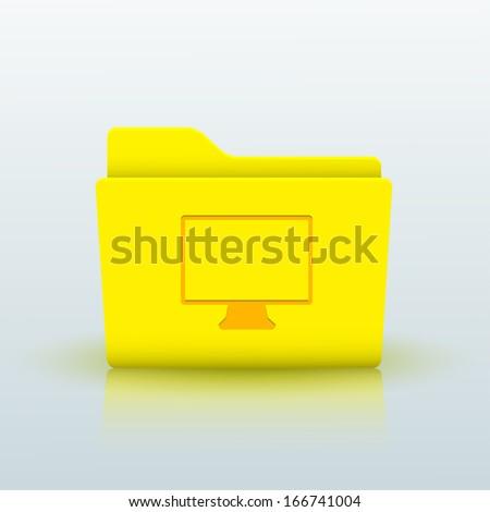 yellow folder on blue background.  - stock photo