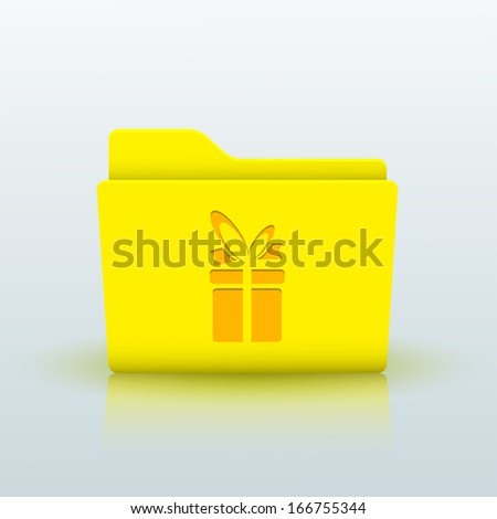 yellow folder on blue background. - stock photo
