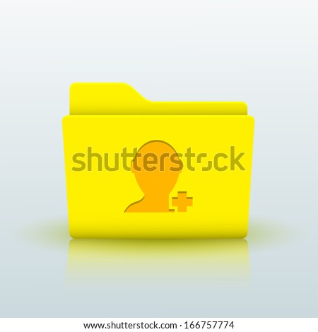 yellow folder on blue background - stock photo