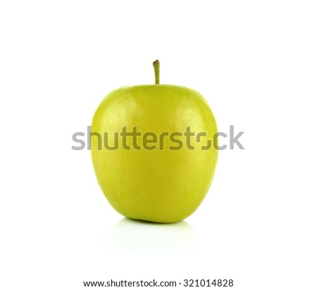 yellow golden apple isolated on white background.