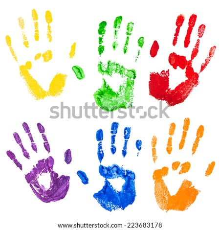 Yellow,green,red,violet,blue,orange paint hand prints,isolated on the white background