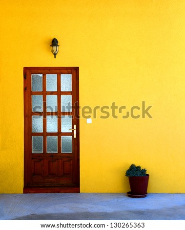 Yellow house wall with door and flower pot / Door