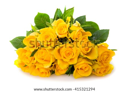 Yellow rose  bouquet isolated.