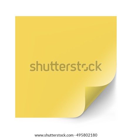 Vector Yellow Sticker Paper Note Memo Stock Vector 485254687