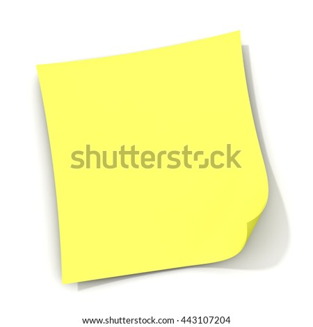 Yellow sticky note isolated on white background with shadow. 3D rendering. - stock photo