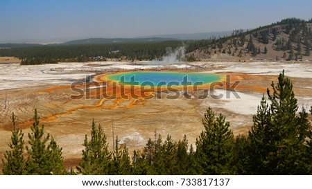 Yellowstone pool. Grand Prismatic Spring. Wyoming, USA