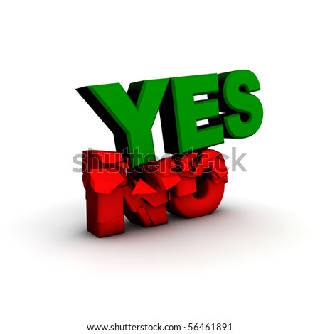 yes/no three dimensional text with fractures - stock photo