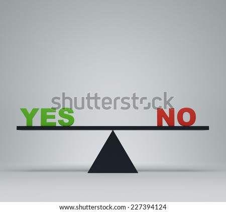 'Yes' or 'no' balancing on a seesaw  - stock photo