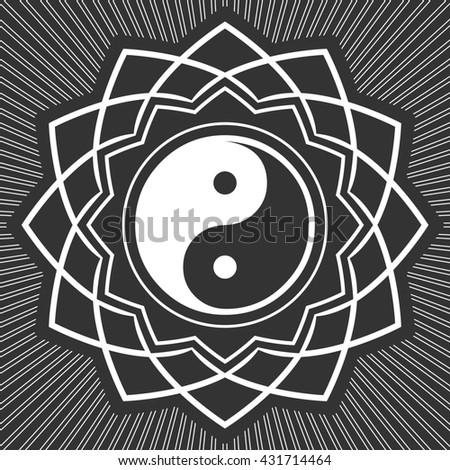 ying-yang floral decorate symbol - stock photo