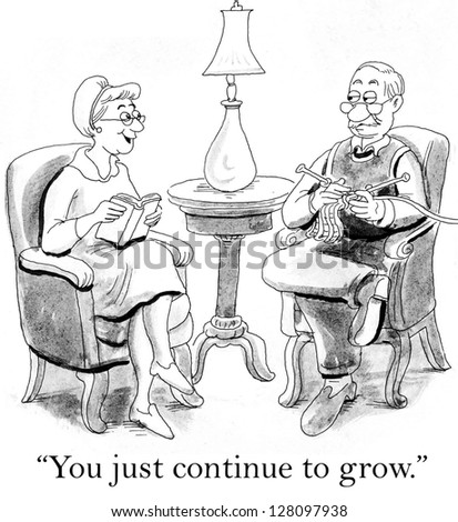 """""""You just continue to grow."""" wife says to husband who is knitting - stock photo"""