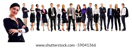 Young attractive business people - the elite business team - lead by a business woman