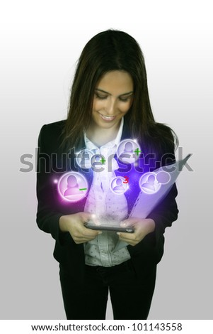 young business woman with mobile phone show the social network - stock photo