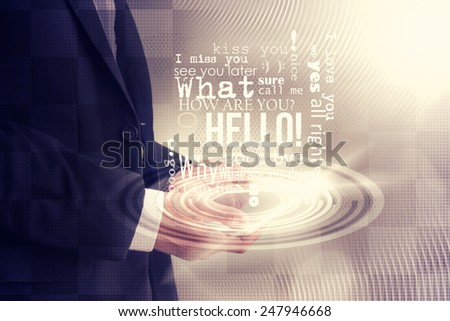 young businessman using digital tablet - stock photo