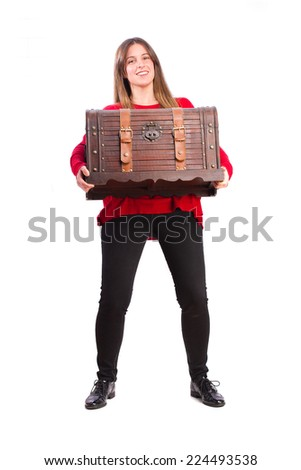 young cool girl carrying a chest - stock photo