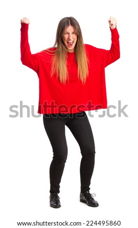 young cool girl celebrating gesture