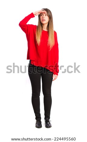 young cool girl looking for gesture - stock photo