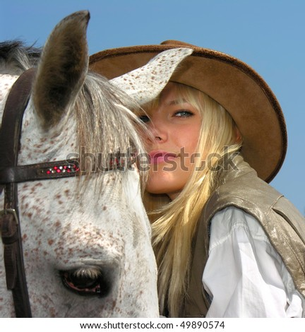 young cowgirl - stock photo