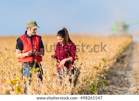 Young farmers in soybean fields before harvest