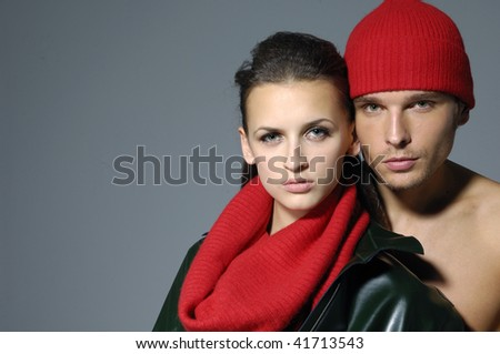 young fashion couple ,studio shoot - stock photo