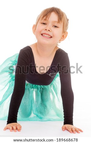 young girl gymnast.Isolated on white background. - stock photo
