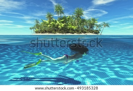 Young girls swimming underwater near an  tropical island. This is a 3d render illustration