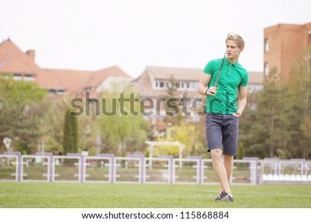 young  golf player - stock photo