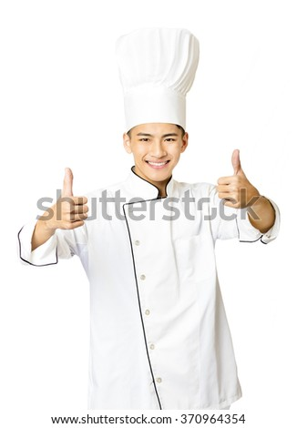 young  male chef with thumb up isolated on white - stock photo