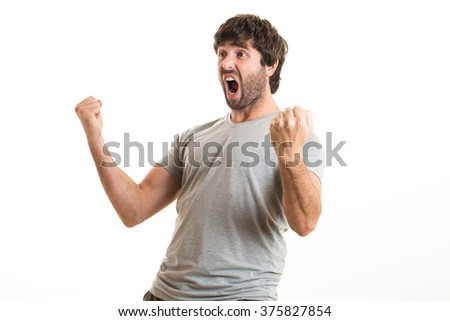 Young man celebrating