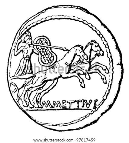 Young Man Chariot Denarius Julius Caesar Stock Photo Royalty Free