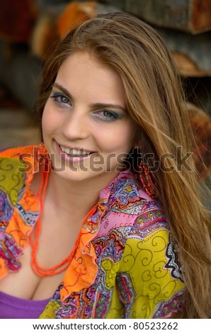 young pretty woman portrait - stock photo