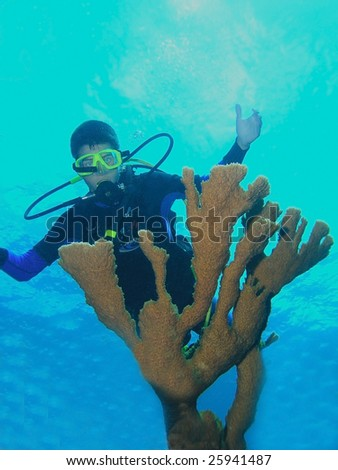 Young scuba diver and coral