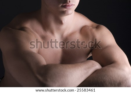 Young Sporty Man over Black Background, Body Parts